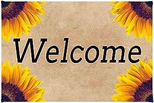 ZMvise Welcome Sunflower Floral Yellow Non-Slip Area Rug Floor Front Door Mats Entry Carpet Indoor Doormat Outdoor Felt