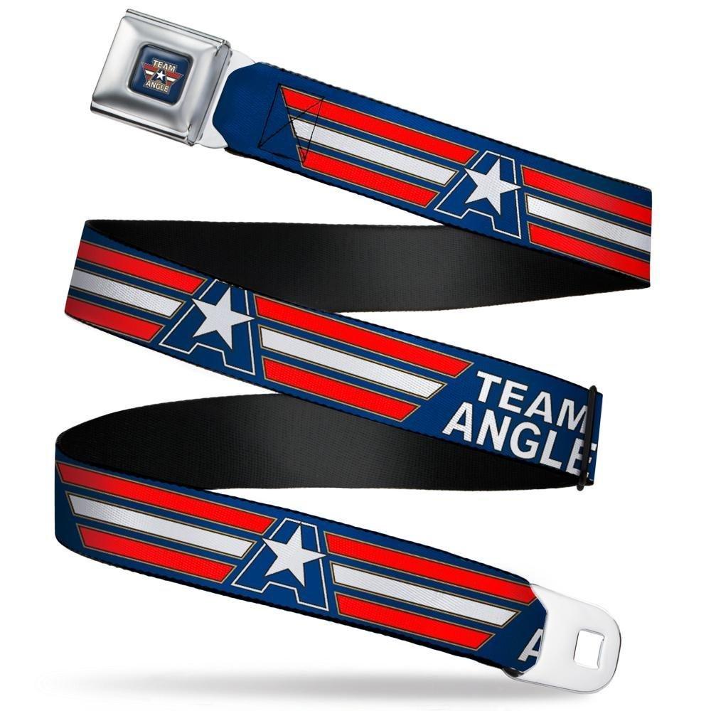 1.0 Wide-20-36 Inches Kurt Team Angle Stripe Blue//Gold//White//red Buckle-Down Mens Seatbelt Belt WWE Kids