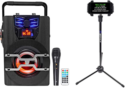 Technical Pro WASP420 Bluetooth Karaoke Machine System w LED s Mic Tablet Stand