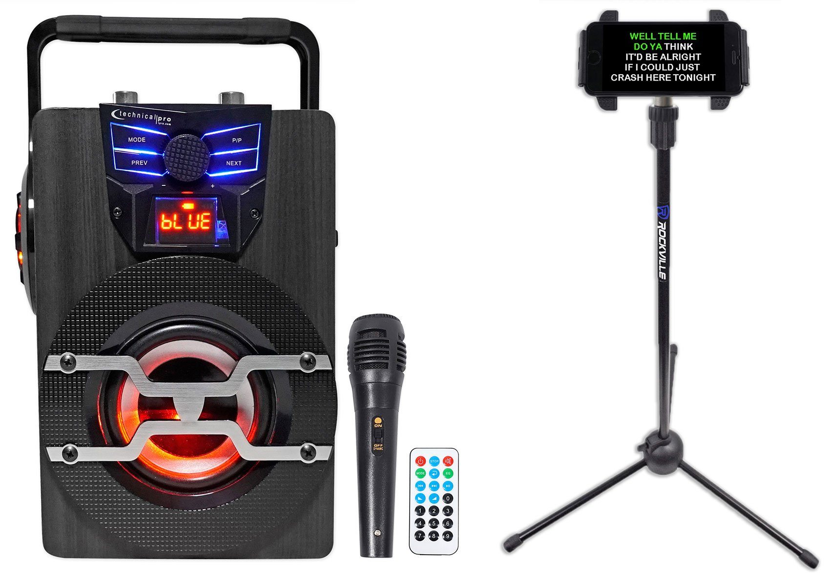 Technical Pro WASP420 Bluetooth Karaoke Machine System w/LED's+Mic+Tablet Stand by Technical Pro