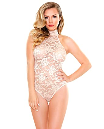9fe8ab862bff2 Chloe High Neck Lace Playsuit Champagne S M at Amazon Women s ...