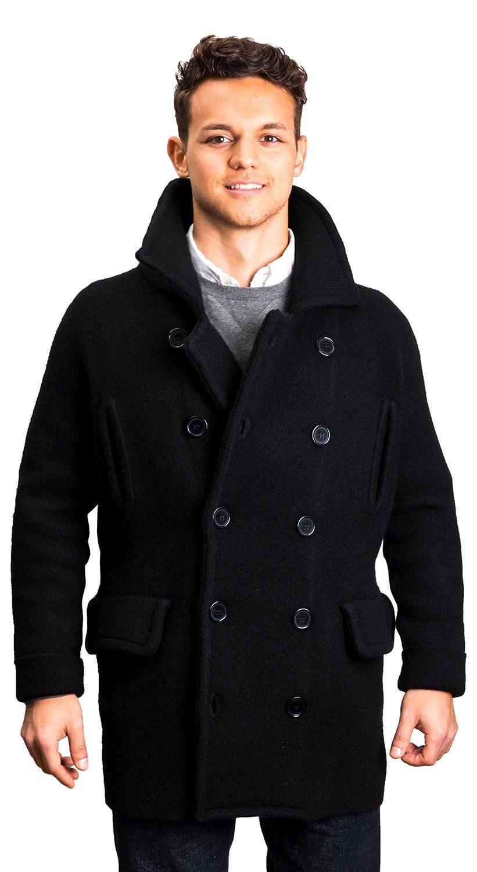 Citizen Cashmere Peacoat - 100% Tibetan Yak Wool (Black, L) 52 602-02-03