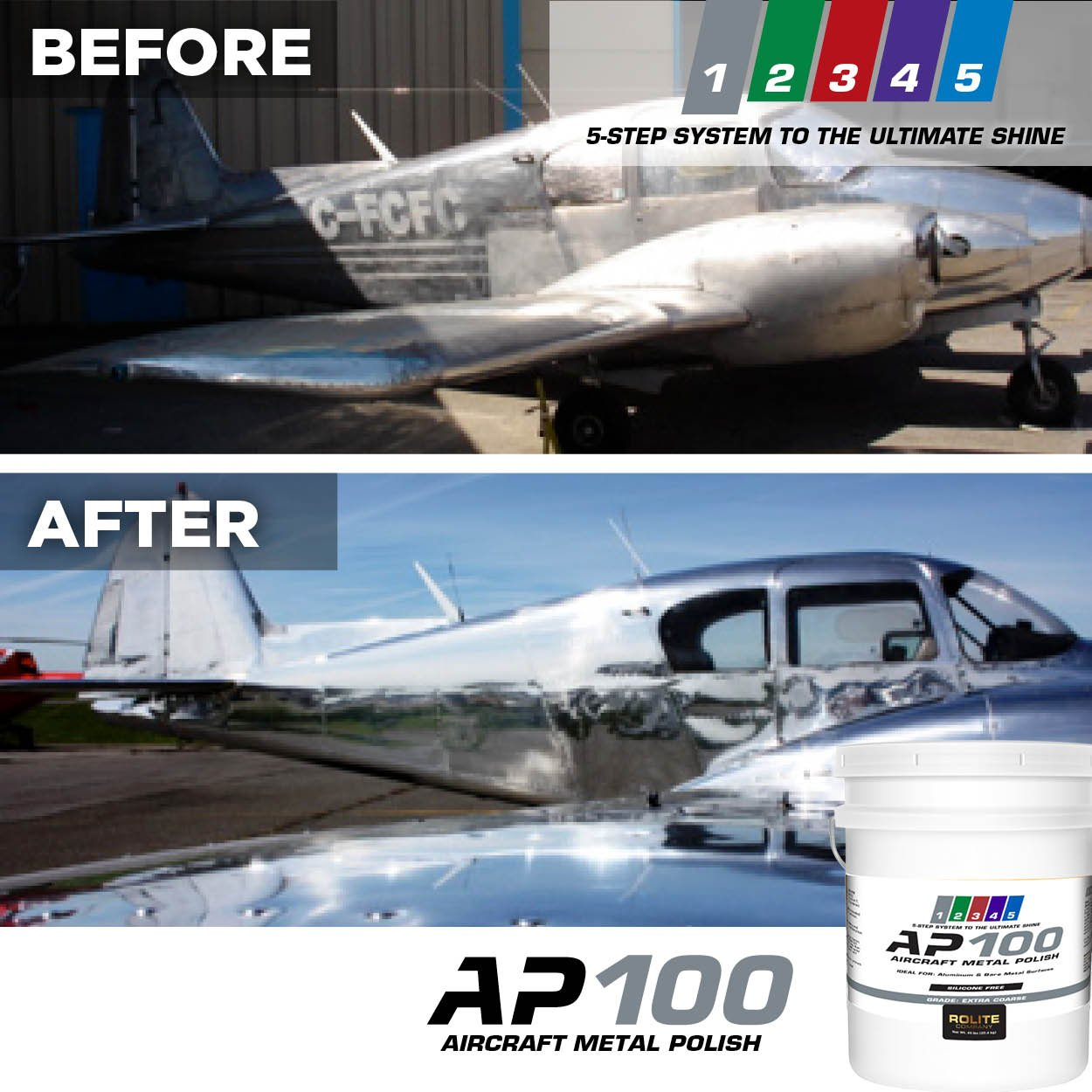 AP100 Aircraft Metal Polish (1lb) - Extra Coarse - for Airplane Aluminum & Bare Metal Surfaces, Brightwork, Meets Boeing & Airbus Requirements by Rolite