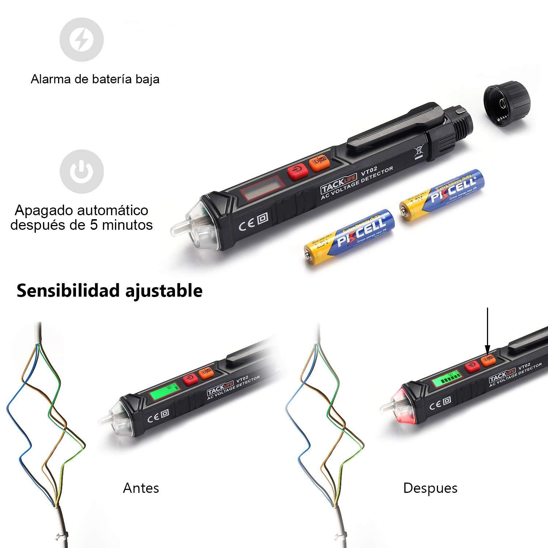 Tacklife VT02 Detector del Voltaje CA sin contacto con flash LED, alarma sonora, detector de tensión elíctrico comprobador de 12V-1000V distinguir cable ...