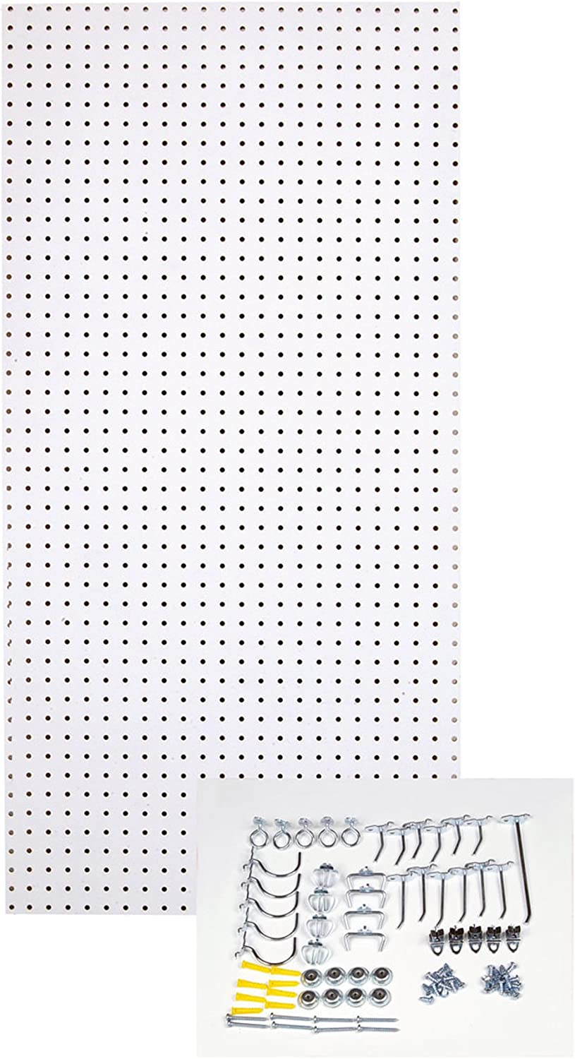 Triton Products Tpb 36wh Kit 24 Inch W X 48 Inch H Custom Painted Heavy Duty Tempered Round Hole Pegboards With Locking Hook Assortment White Amazon Com