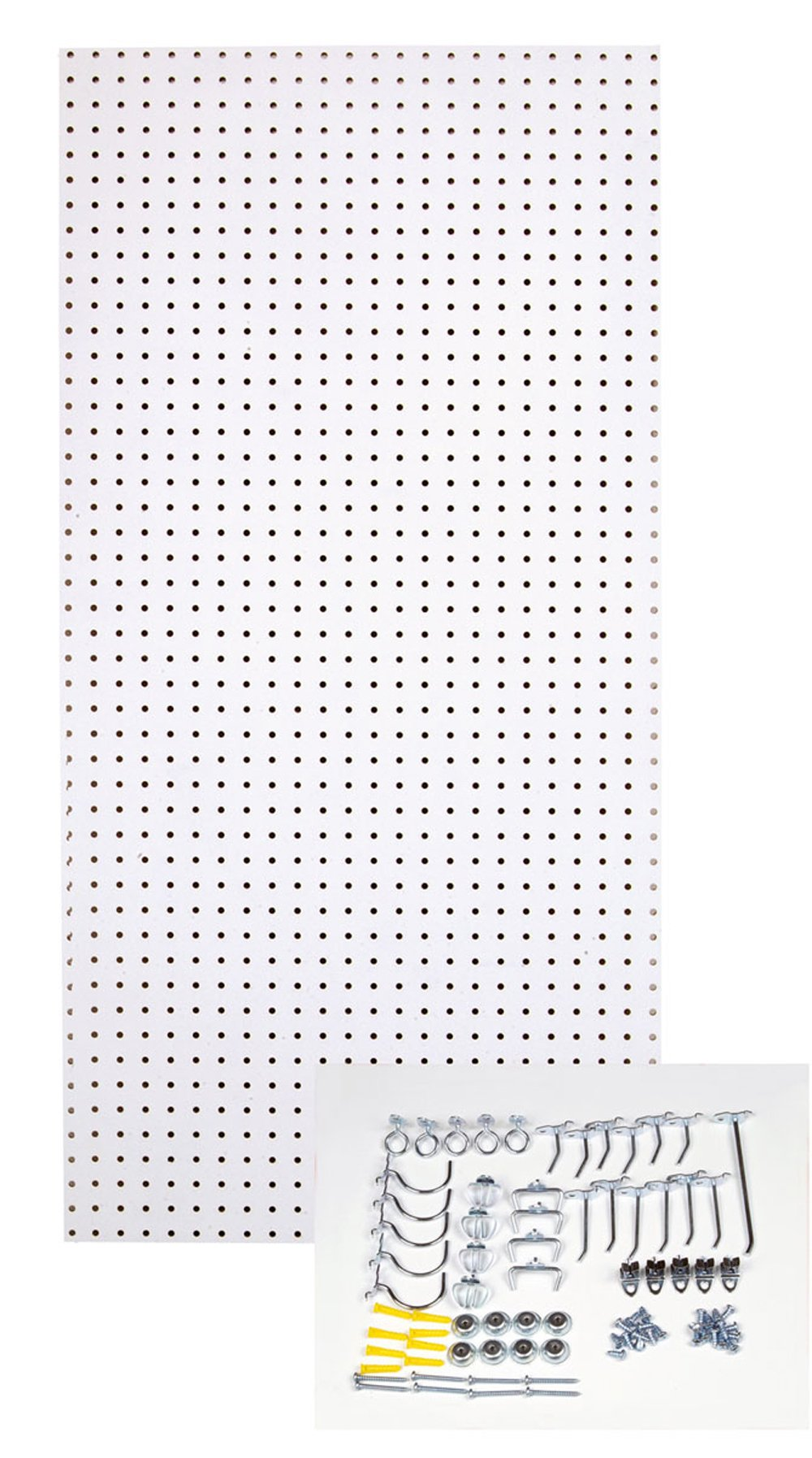 Triton Products TPB-36WH-Kit 24-Inch W x 48-Inch H Custom Painted Heavy Duty Tempered Round Hole Pegboards with Locking Hook Assortment, White
