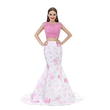 16a0fc71f916 Zechun Floral Print Pink 2 Pieces Mermaid Long Prom Dress Evening Party  Gowns at Amazon Women's Clothing store: