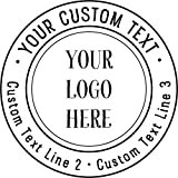 Custom Logo Double Round Border Stamp - 3 Lines of Text - Self-Inking Stamper - Rubber Personalized Stamp - Stamps for Local Business - Personalized Business Stamps