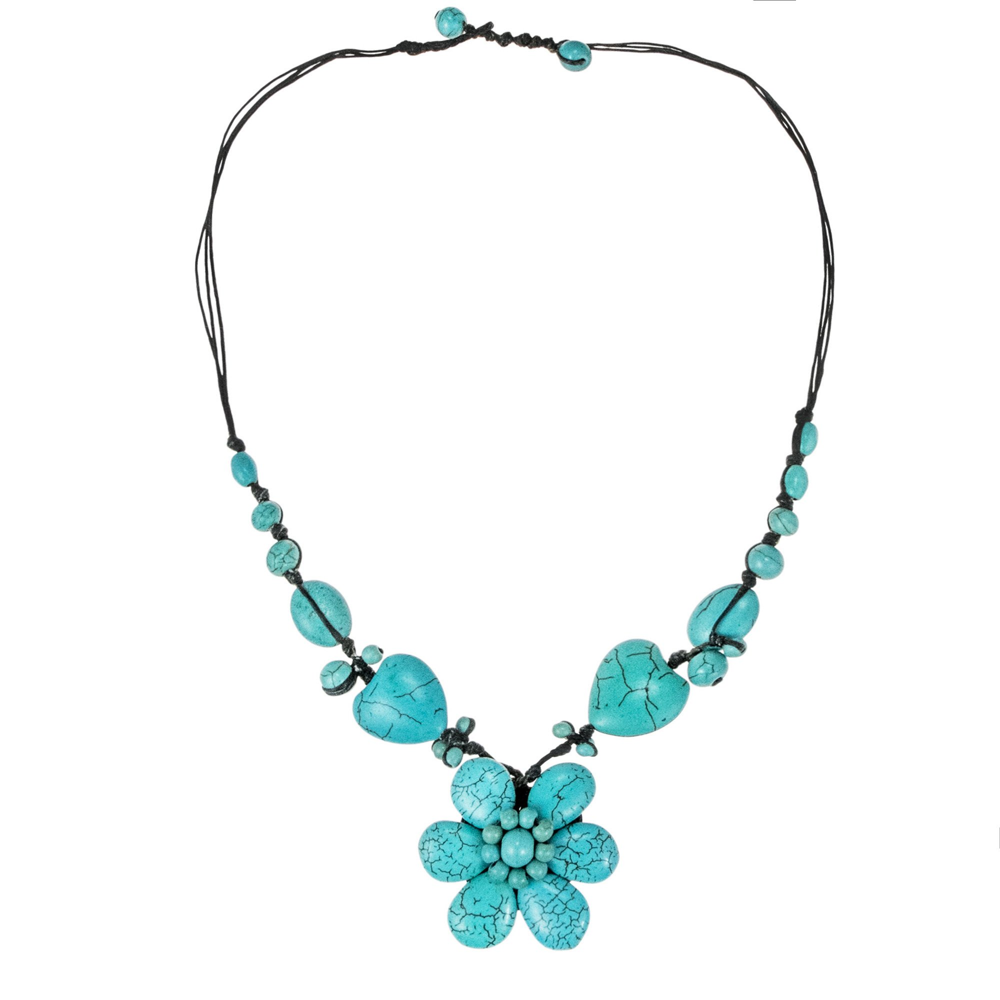 AeraVida Floral Romance Simulated Turquoise Cotton Rope Necklace