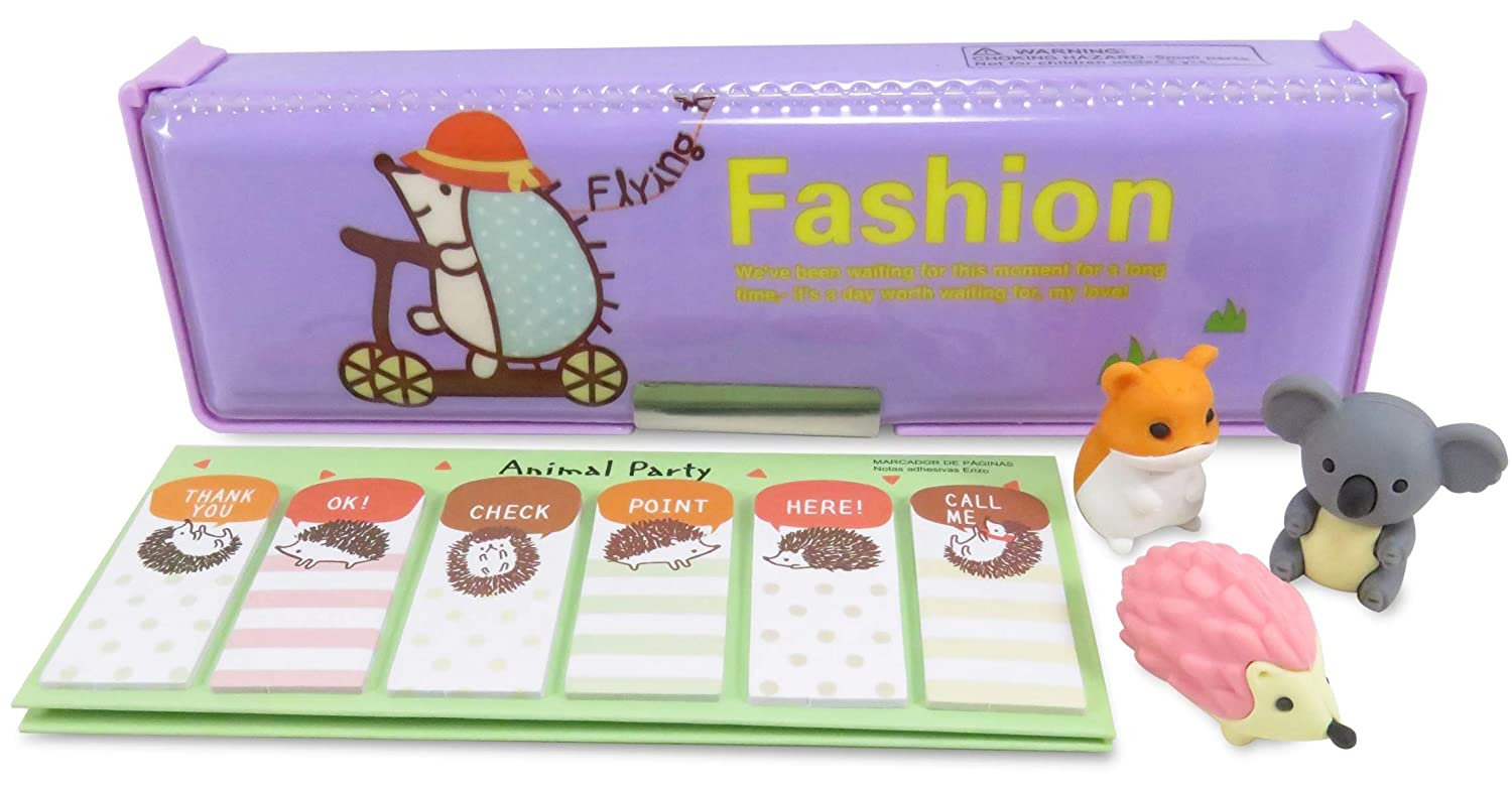 Kawaii Hedgehog Double-Sided Soft Pen Pencil Case with Page Markers Stickers (90) and 3 Japanese Mini Puzzle Erasers (Perfect 5 Piece Set for Kids)