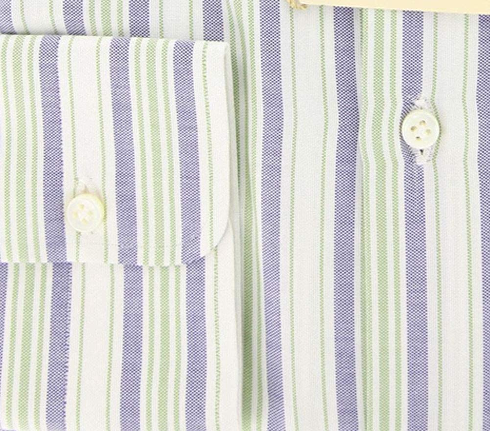 Luigi Borrelli Stripes Button Down Button-Down Collar Cotton Slim Fit Dress Shirt