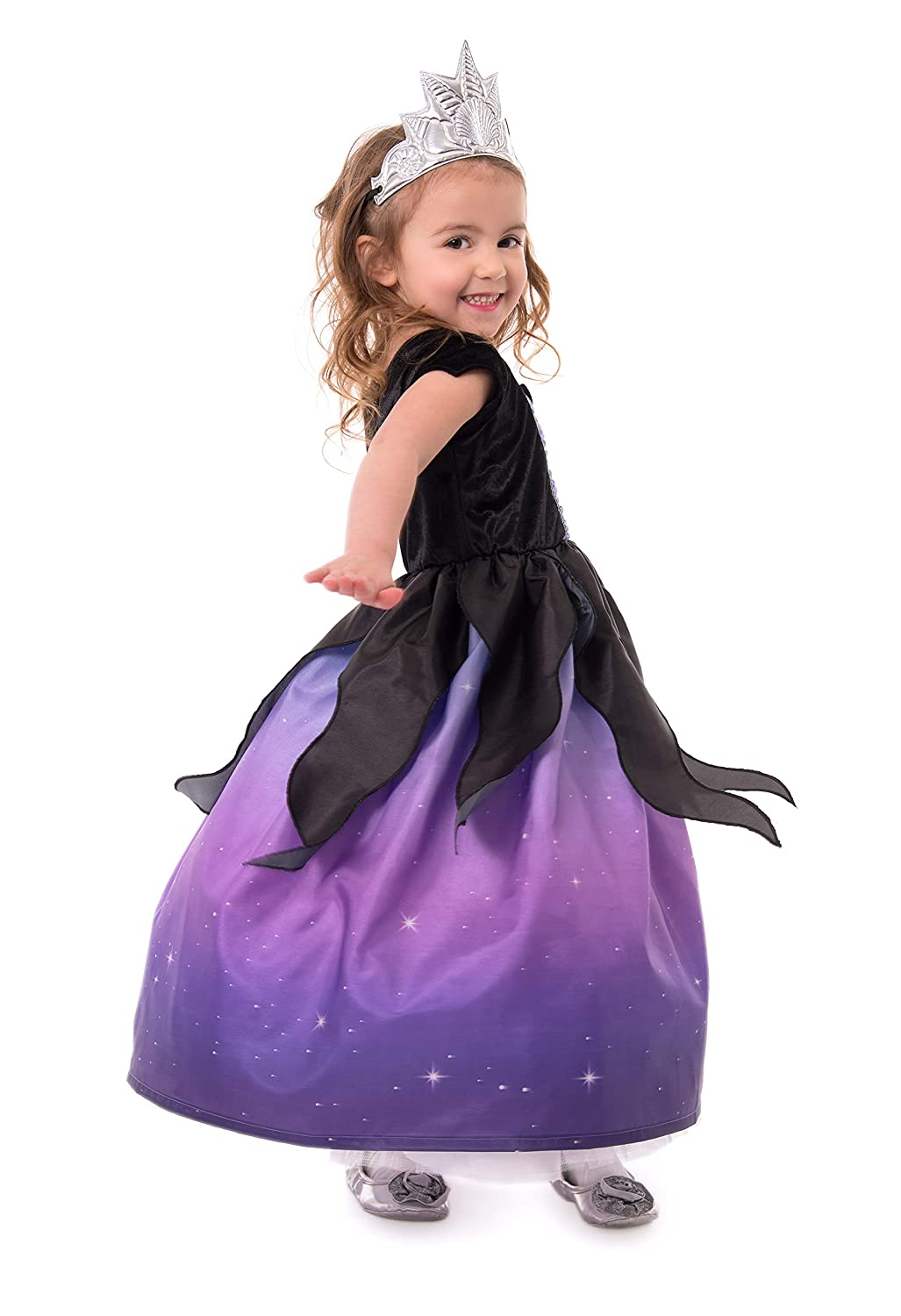 Medium Age 3-5 Little Adventures Sea Witch Dress Up Costume with Soft Crown /& Matching Doll Dress