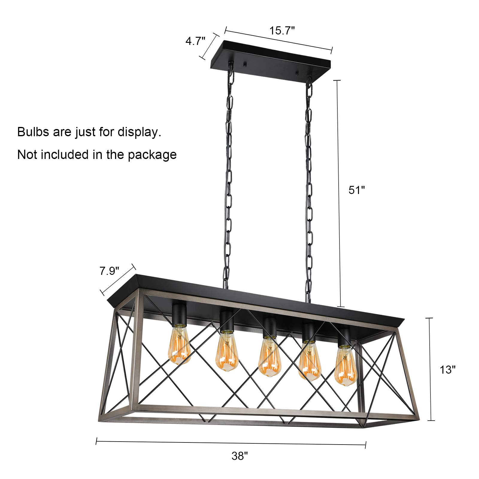 Paragon Home 5-Lights Rectangle Rustic Metal Pendant Light, Modern Linear Island Ceiling Lighting Fixture Industrial Pendant Lights for Dining Room Kitchen Living Room, E26 Base (Bulbs Not Included) by Paragon Home (Image #2)