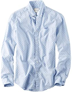 e878dfb8 American Eagle Mens Printed Poplin Button-Down Shirt Light Blue Print