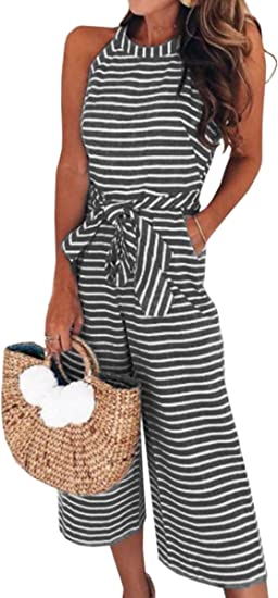 Ecowish Womens Jumpsuits Sexy Striped Spaghetti Strap Backless Wide Leg Jumpsuit Rompers 0930 Black M Amazon Ca Clothing Accessories