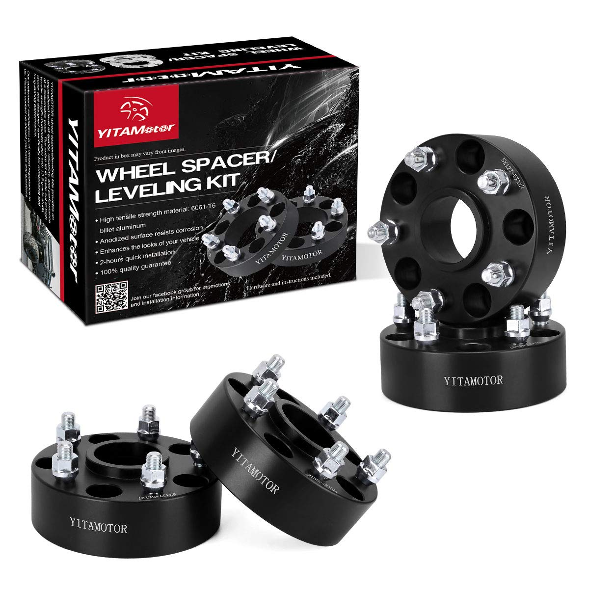 YITAMOTOR 2nd-gen Forged Hubcentric Wheel Spacers, 5x5 Wheel Spacers 2', SGS Approved, Compatible for 2007-2017 Jeep Wrangler JK JKU, 1999-2010 Grand Cherokee WJ WK, 2005-2010 Commander XK Black 5x5 Wheel Spacers 2