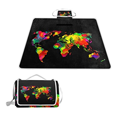 Amazon naanle watercolor painting world map waterproof outdoor naanle watercolor painting world map waterproof outdoor picnic blanket sandyproof camping beach handy mat gumiabroncs Images