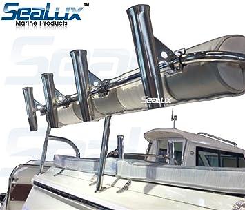 2x Boat Marine Sea Fishing Stainless Steel Side Mounted Flush Mount Rod Holder