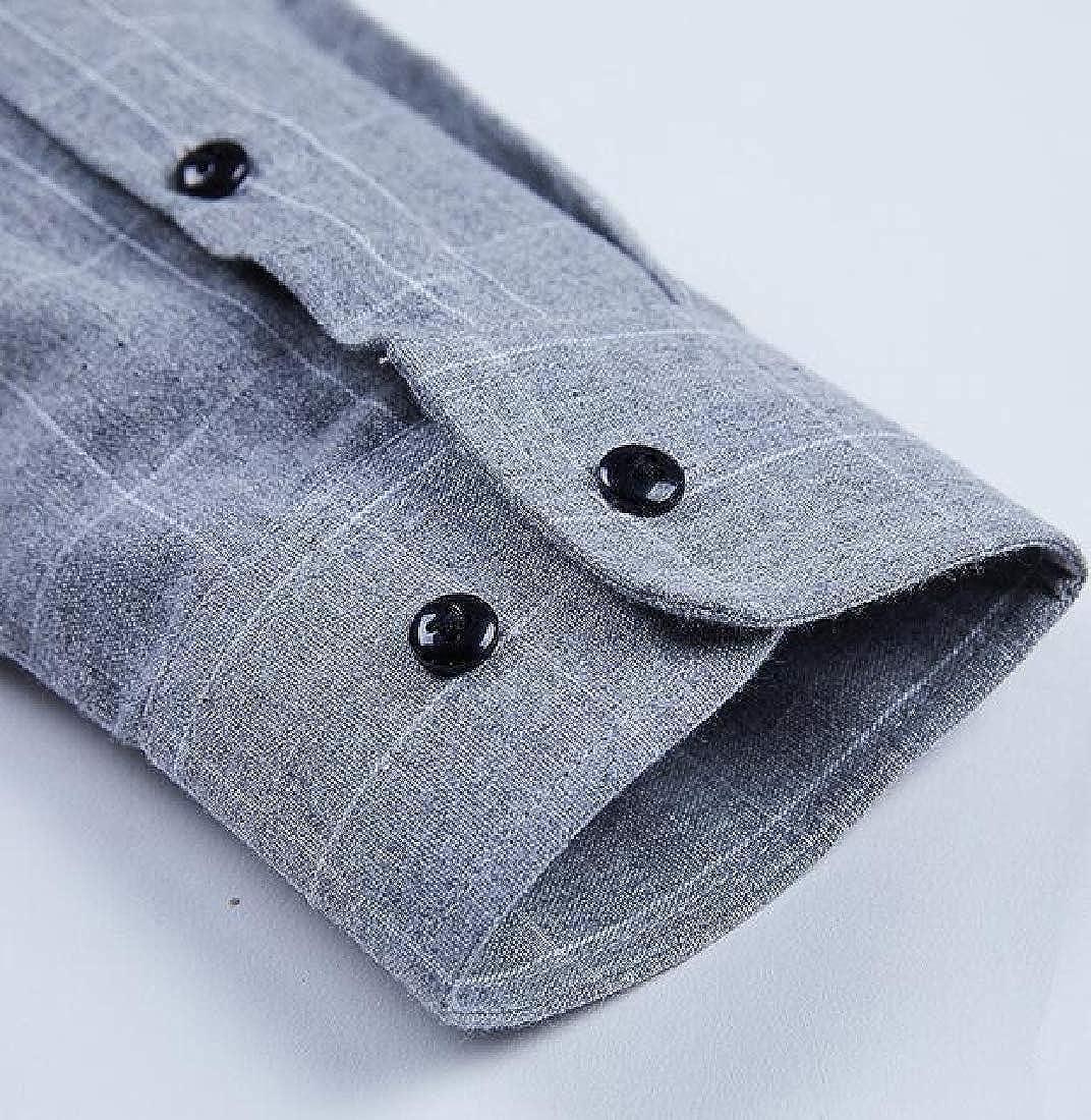OTW Mens Plaid Slim Long Sleeve Formal Button Up Dress Work Shirt