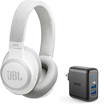 Amazon Com Jbl Live 650 Bt Nc Over Ear Noise Canceling Wireless Bluetooth Headphone Bundle With Anker Powerport Elite 2 Ports Usb Wall Charger White Home Audio Theater