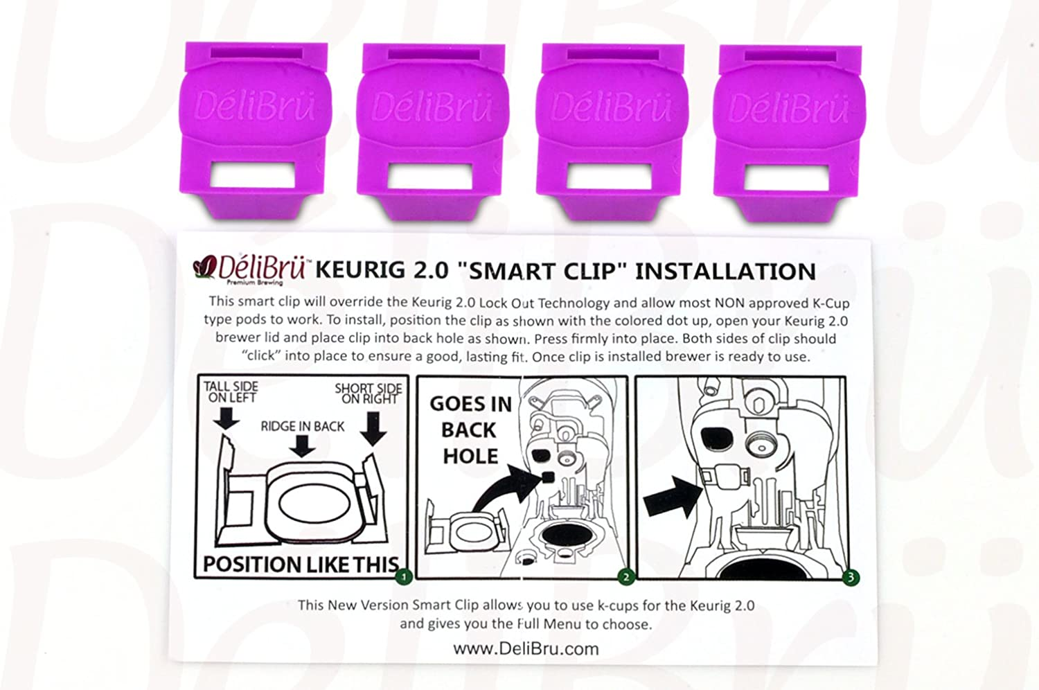 4Pack Freedom Clip Smart Clip Brews Any Brand K-Cup Coffee Pods in Keurig 2.0 Coffee Machines by Delibru