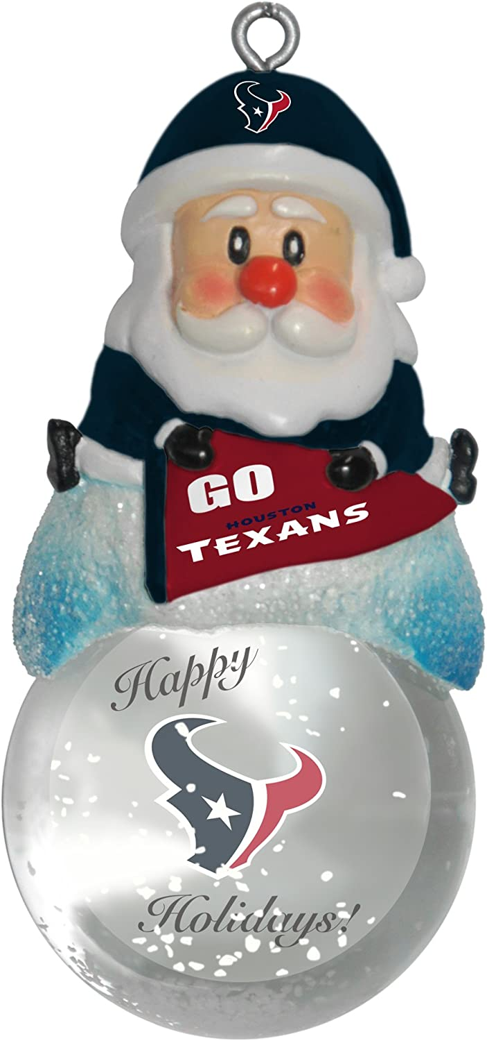NFL Houston Texans Snow Globe Ornament Silver 1.5