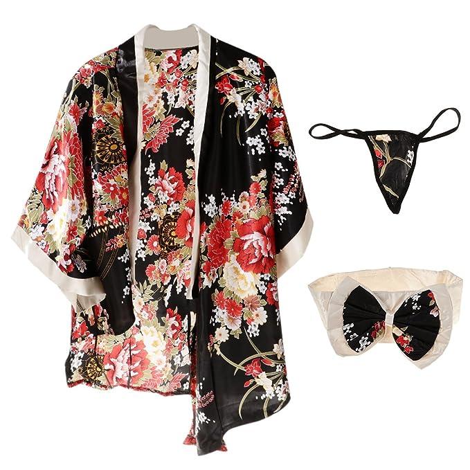 MagiDeal Kimono Túnica Pretina Tanga Sakura Flor Impreso Ropa Interior Mujeres Japonesas Traje Geisha - Negro