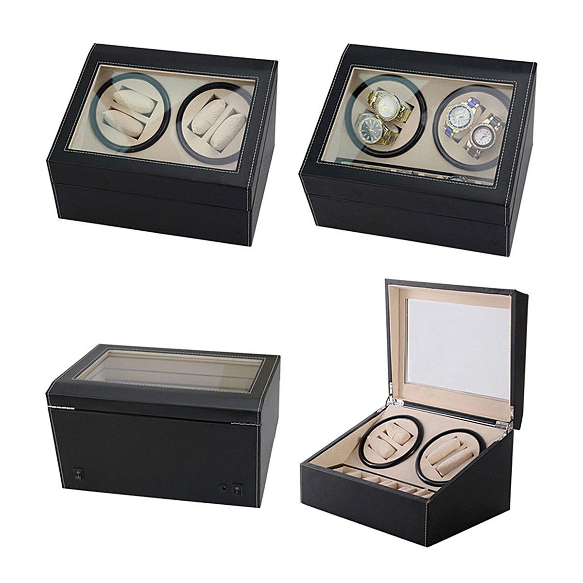 HooAMI Leather Automatic Rotation 4+6 Watch Winder Storage Case Display Box by HooAMI (Image #4)