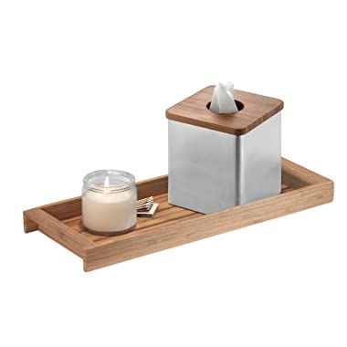 iDesign Formbu Wood Toilet Tank Top Storage Tray Wooden Organizer for Tissues, Candles, Soap, Hand Towels, Toilet Paper, Natural Bamboo