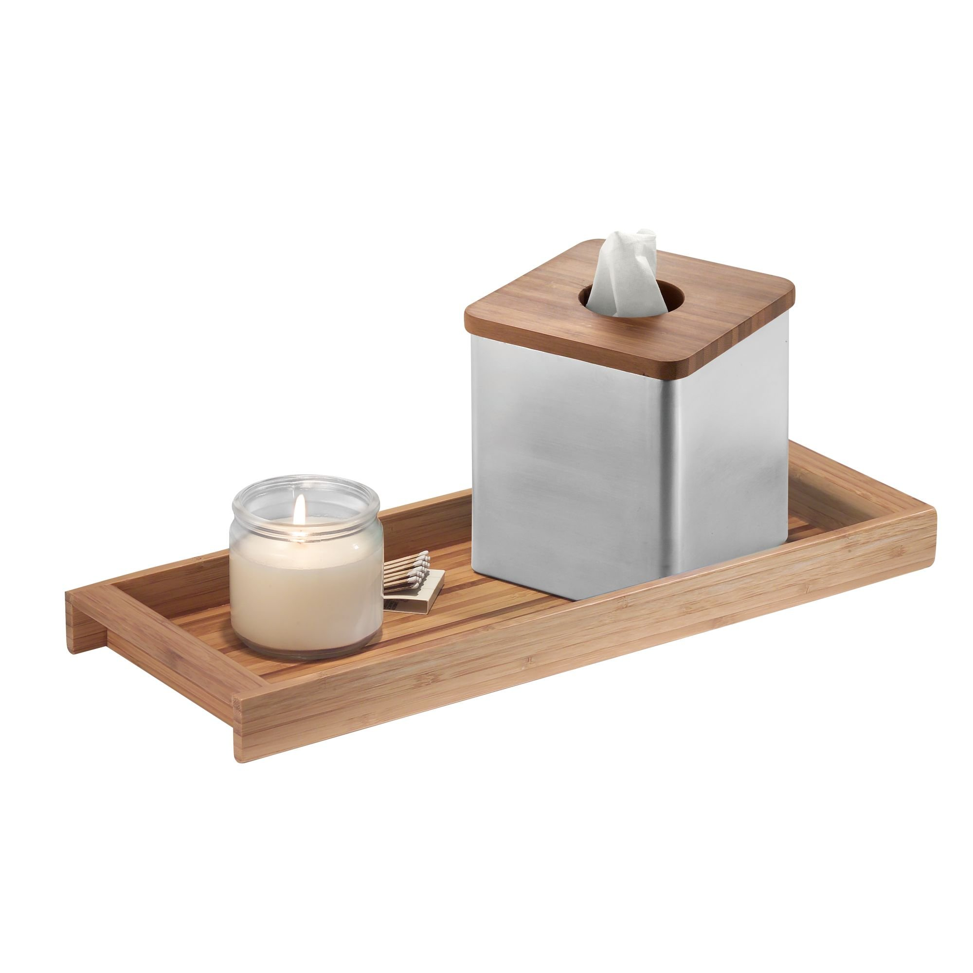 iDesign Formbu Wood Tank Top Storage Tray Wooden Organizer for Tissues, Candles, Soap, Hand Towels, Toilet Paper, Natural Bamboo