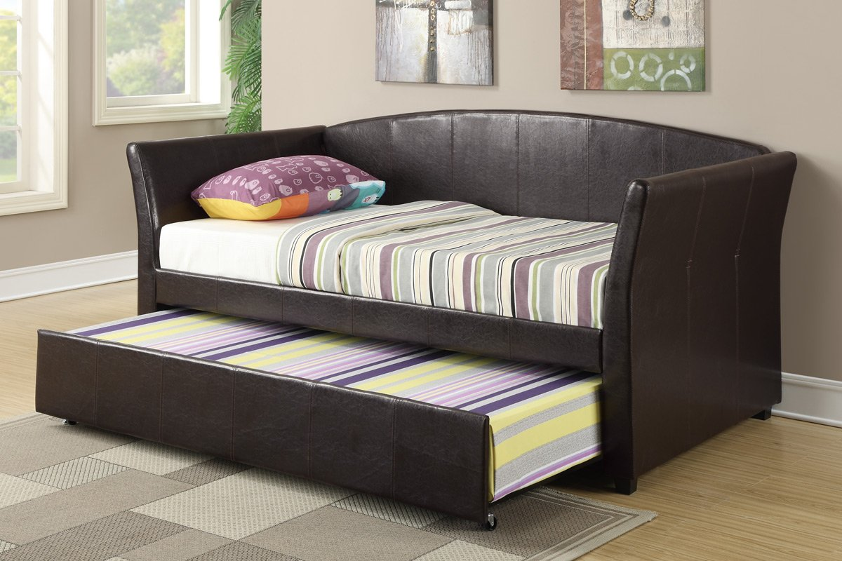 Amazon.com: Daybed with Trundle in Espresso Faux Leather by Poundex:  Kitchen & Dining - Amazon.com: Daybed With Trundle In Espresso Faux Leather By