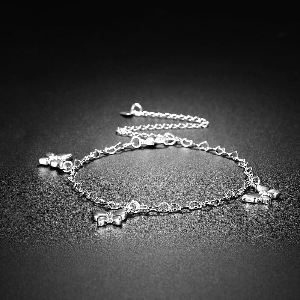 Cha/îne Argent Anklet Bracelet de Cheville en Argent YLJXXY Cha/îne 3 Papillons Cheville Pieds Nus Bijoux pour Pied de Plage pour Femmes,R/églable Facilement Ajustable 30CM No/ël Cadeaux