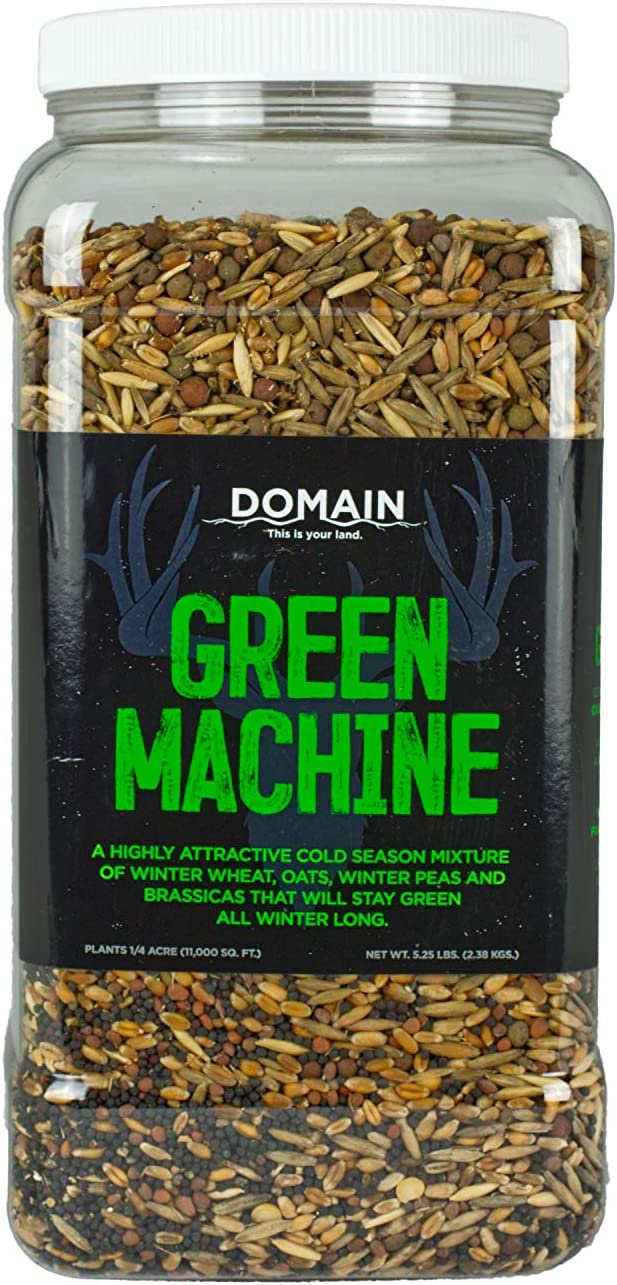 Domain Outdoor Green Machine Deer Food Plot Seed, 1/4 Acre, Highly Attractive Food Source in Fall and Winter, Will Stay Green into Winter - Winter Wheat, Forage Oats, Winter Peas, Forage Rape, Radish