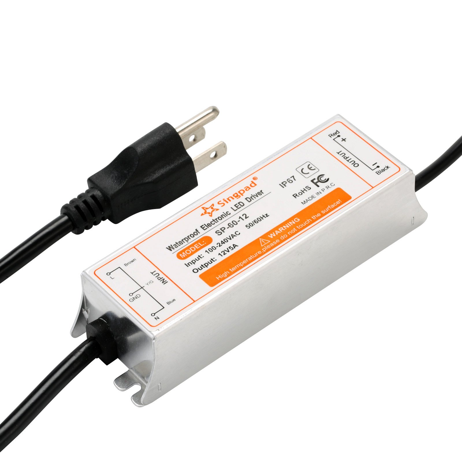 details about singpad 60 watt waterproof led power supply driver transformer 120 to 12 volt dc 12 Volt Plug in Transformer