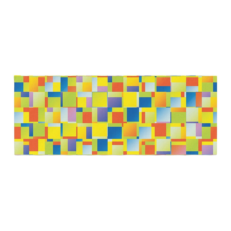 Kess InHouse Dawid ROC Multi Color Blocking Yellow Geometric Bed Runner