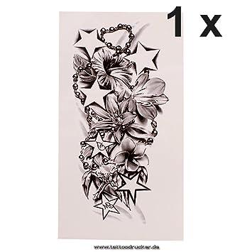 1 X Lotus Blumen Kette Kreuz Sterne Tattoo In Schwarz Einmal