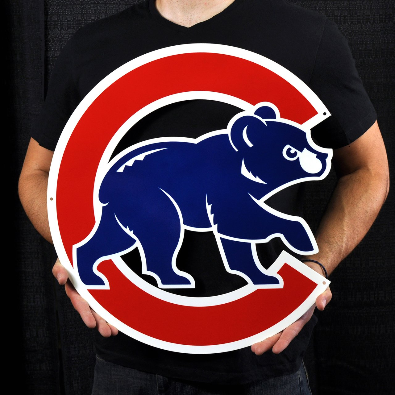 Chicago Cubs Bear in C Lasercut Steel Logo Sign Wall Sign 20 x 20in