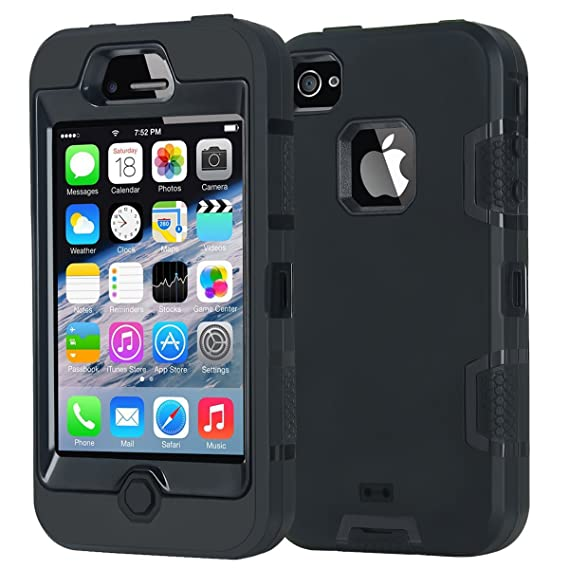 newest 696ac 4af9c iPhone 4 Case,Apple iPhone 4 4S Case,Shockproof Heavy Duty Combo Hybrid  Defender High Impact Body Rugged Hard PC & Silicone Case Protective Cover  for ...