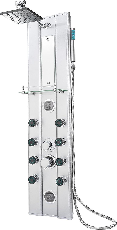 TecTake Aluminium shower tower panel with hand shower & 10 massage