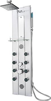 TecTake Panel de ducha aluminio grifería con grifo mano cabezal ...