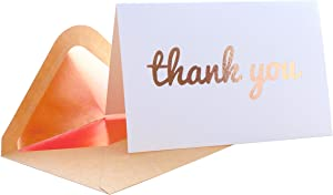 Thank You Cards - Blank 50 Pack White Textured Cards with Rose Gold Foiled