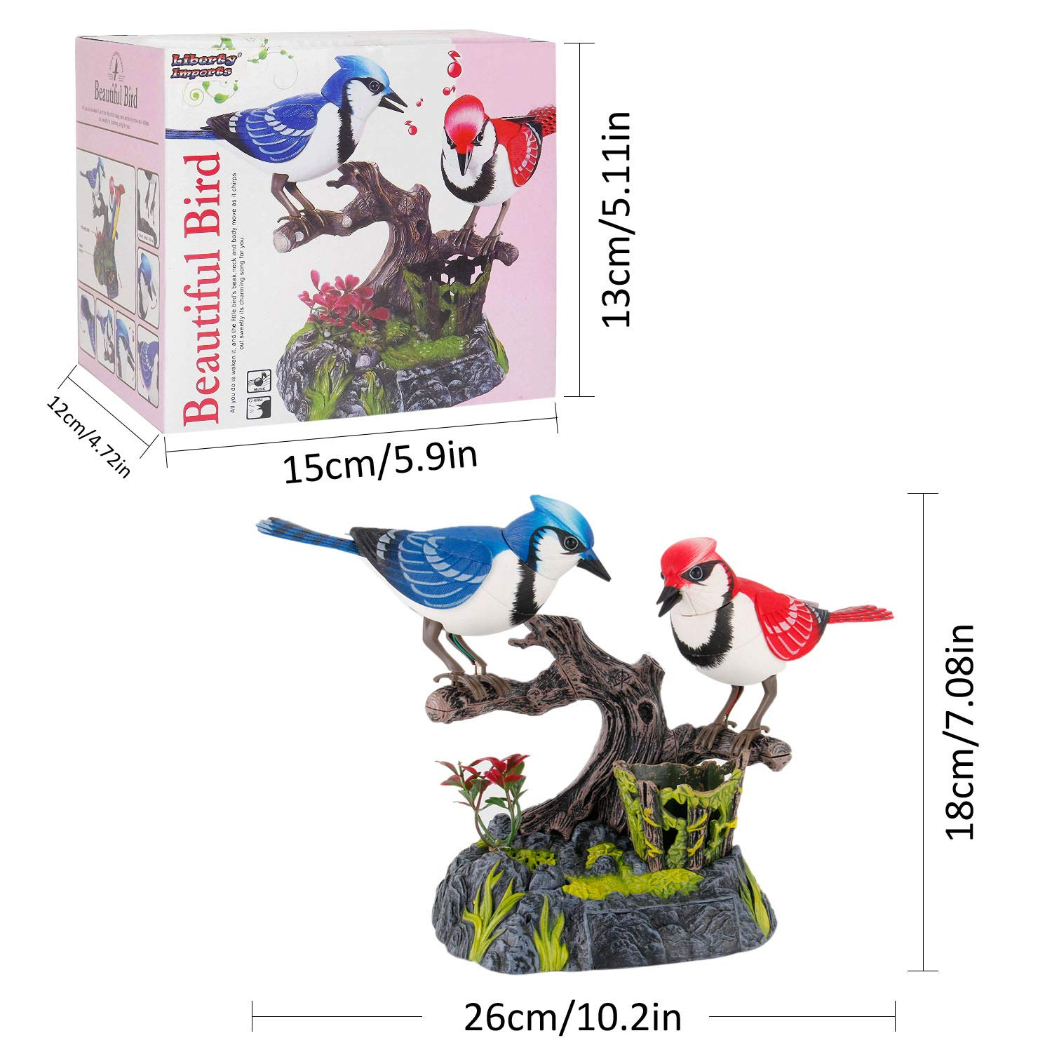 Liberty Imports Singing and Chirping Birds - Realistic Sounds and Movements (Blue Jays) by Liberty Imports (Image #7)