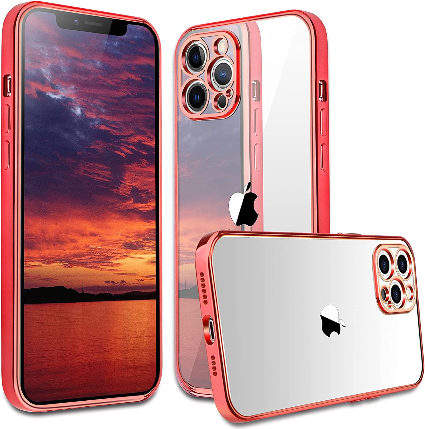 Compatible with iPhone 12 pro max Case, peafowl Clear Slim Soft Full Coverage Protective TPU Silicone Cell Phone Case for iPhone 12 pro max Red (6.7)