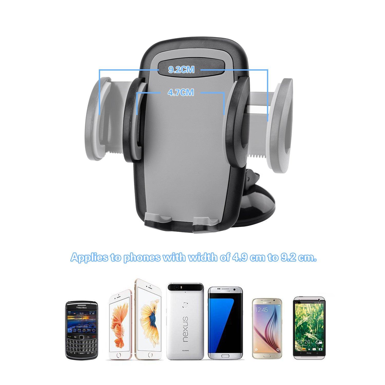 AlierGo Car Mount Holder Windshield Dashboard Universal Car Mobile Phone Cradle for iPhone 7 Plus 7 6S Plus 6S 5S Samsung Galaxy S7 Edge S7 S6 S5 HTC M10 and more 4327101315