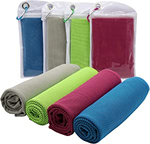 """[4 Pack] Cooling Towel (40""""x12""""), Ice Sport Towel Soft Breathable Chilly Towel Microfiber Towel for Yoga, Sport, Running, Gym, Workout,Camping, Fitness, Workout"""