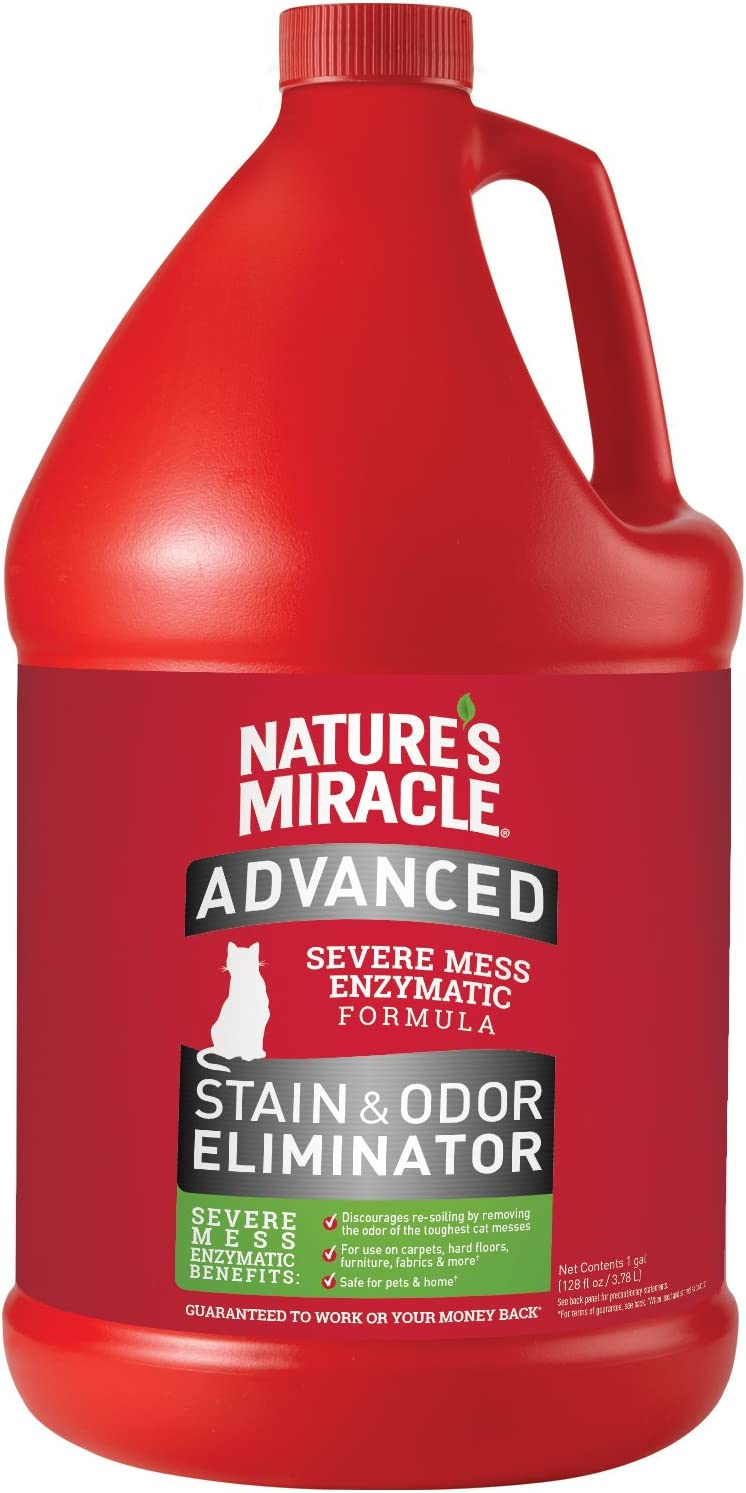 Nature's Miracle Cat Advanced Stain and Odor Eliminator, For Severe Cat Messes, Safe for Pets and Homes
