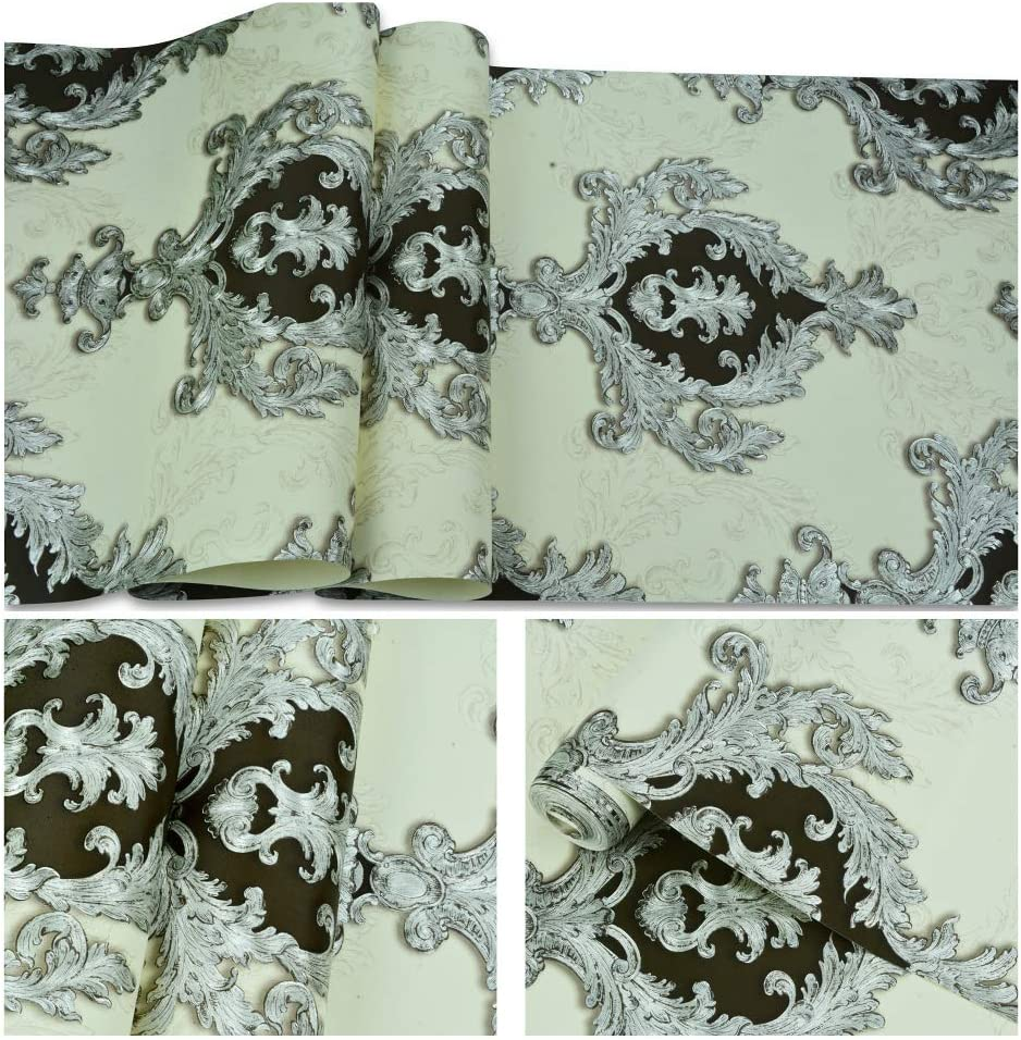 6101 Luxury Damask Wallpaper Rolls,White//Silver//Black Embossed Texture Victorian Wall Paper Home Bedroom Living Room Hotels Wall Decoration 20.8inx 31ft
