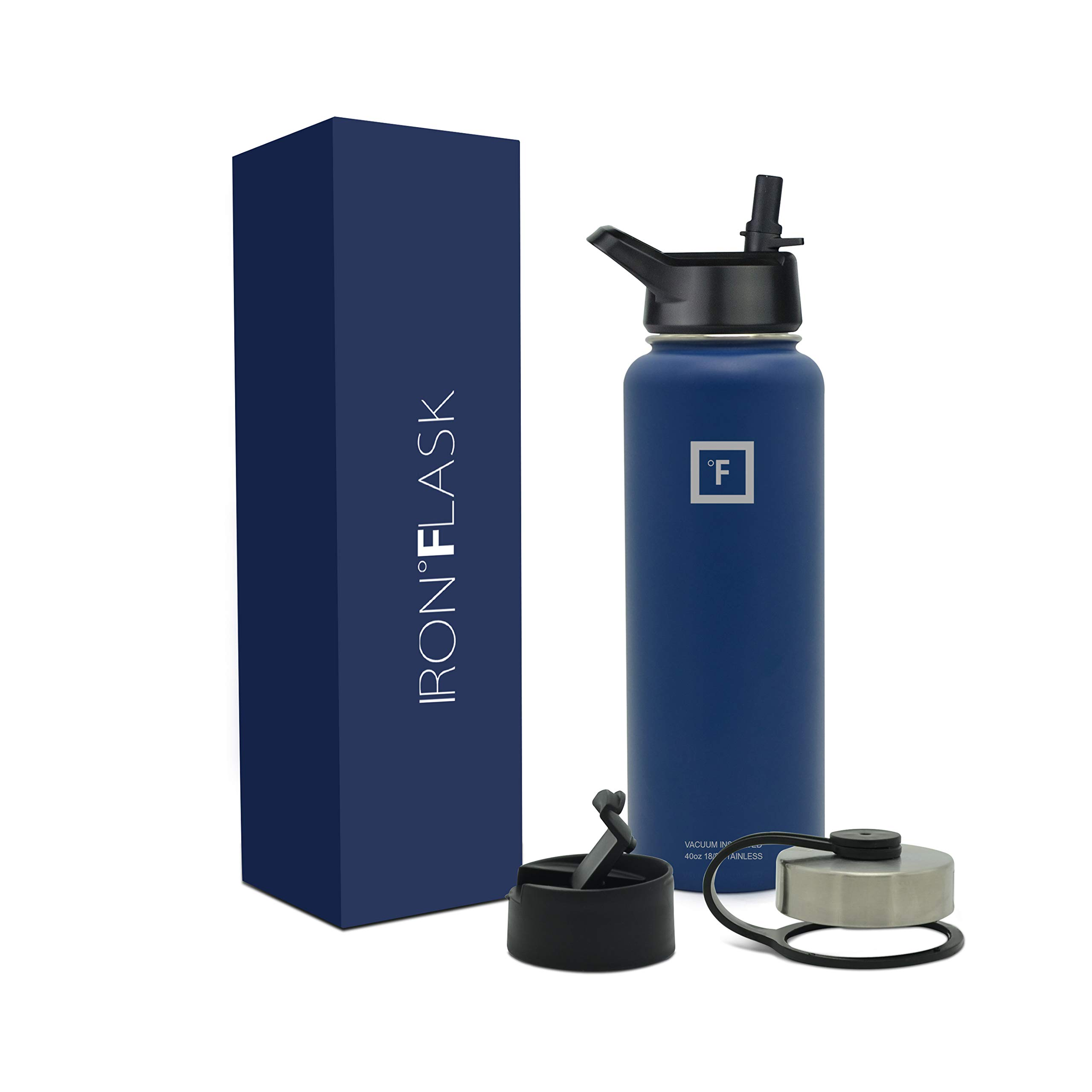 Iron Flask Sports Water Bottle - 40 Oz, 3 Lids, Vacuum Insulated Stainless Steel, Hot & Cold, Wide Mouth, Double Walled, Hydro Metal Canteen, TWI Blue