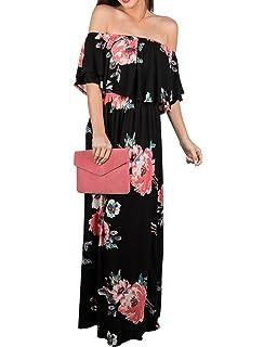 c114df5e523f0 Chuanqi Womens Summer Floral Off The Shoulder Dresses Causal Flowy Beach  Long Maxi Dress