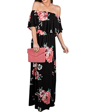 35eac218bf02 Chuanqi Womens Summer Floral Off The Shoulder Dresses Casual Flowy Beach  Long Maxi Dress Black
